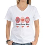 Peace Love Pigs Women's V-Neck T-Shirt