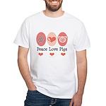 Peace Love Pigs White T-Shirt