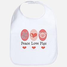Peace Love Pigs Bib