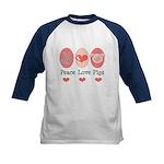 Peace Love Pigs Kids Baseball Jersey