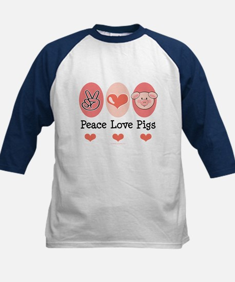Peace Love Pigs Kids Baseball Jersey
