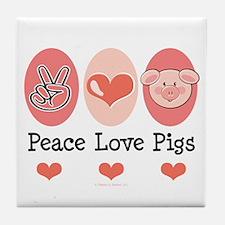 Peace Love Pigs Tile Coaster