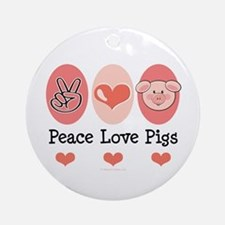 Peace Love Pigs Ornament (Round)