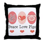 Peace Love Pigs Throw Pillow