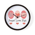 Peace Love Pigs Wall Clock