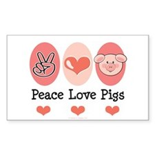 Peace Love Pigs Rectangle Decal