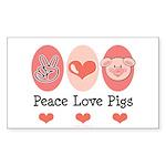 Peace Love Pigs Rectangle Sticker