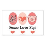 Peace Love Pigs Rectangle Sticker 50 pk)