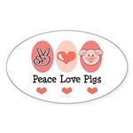 Peace Love Pigs Oval Sticker