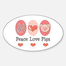 Peace Love Pigs Oval Sticker (10 pk)