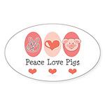 Peace Love Pigs Oval Sticker (50 pk)