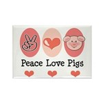 Peace Love Pigs Rectangle Magnet (100 pack)