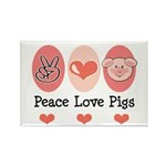 Peace Love Pigs Rectangle Magnet (10 pack)