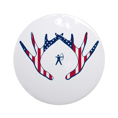 PATRIOTIC BOWHUNTER - ROUND ORNAMENT