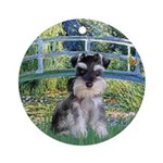 Monet's Art With A Schnauzer Pup Ornament (Round)