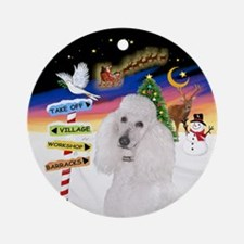 Xsigns-White Standard Poodle Ornament (round)