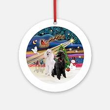 Xmas Magic - 2 Poodles (ST-B+W) Ornament (Round)