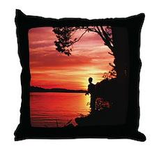Fly Fishing Artwork Throw Pillow