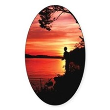 Fly Fishing Artwork Oval Decal