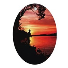 Fly Fishing Artwork Oval Ornament