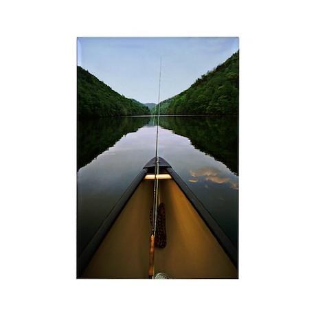 Canoe Fishing Rectangle Magnet