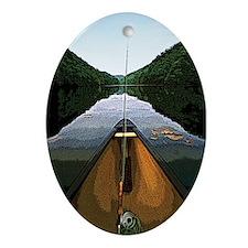 Canoe Fishing Oval Ornament