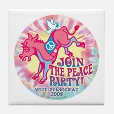 Dem Donkey Peace Party Tile Coaster