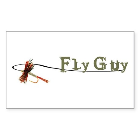 Fly Fishing Guy Rectangle Sticker