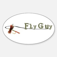 Fly Fishing Guy Oval Decal