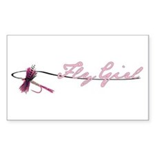 Fly Fishing Girl Rectangle Decal