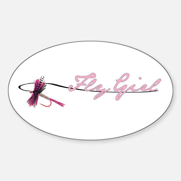 Fly Fishing Girl Oval Decal