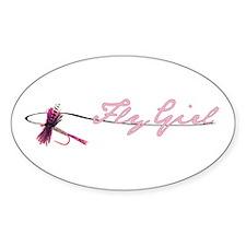 Fly Fishing Girl Oval Sticker (10 pk)