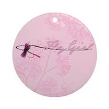 Fly Fishing Girl Ornament (Round)