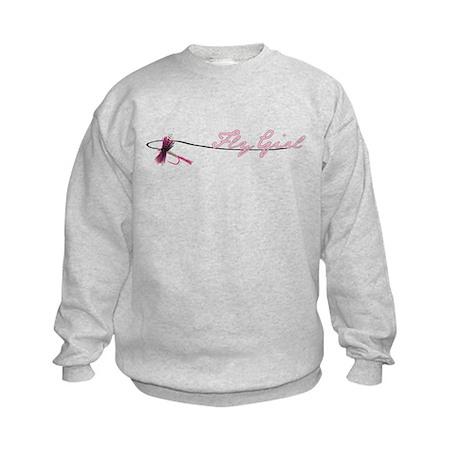 Fly Fishing Girl Kids Sweatshirt