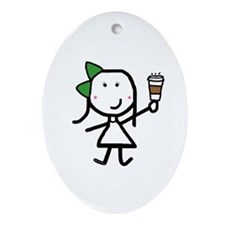 Girl & Coffee Ornament (Oval)