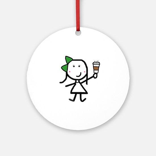 Girl & Coffee Ornament (Round)