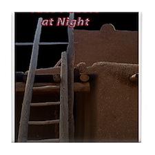 Taos Pueblo at Night Tile Coaster