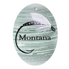 Montana fly fishing Oval Ornament