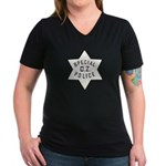 Canal Zone Police Women's V-Neck Dark T-Shirt