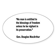 MacArthur Freedom Blessings Quote Oval Decal