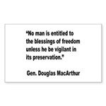 MacArthur Freedom Blessings Quote Sticker (Rectang