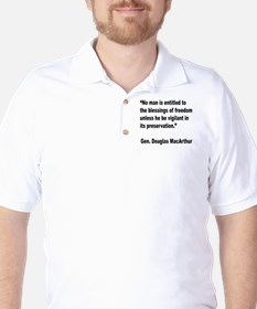 MacArthur Freedom Blessings Quote Golf Shirt