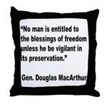 MacArthur Freedom Blessings Quote Throw Pillow