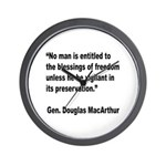 MacArthur Freedom Blessings Quote Wall Clock