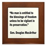 MacArthur Freedom Blessings Quote Framed Tile