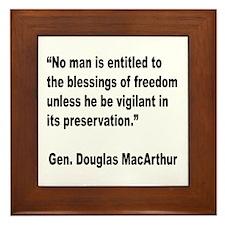 MacArthur Freedom Blessings Quote Framed Tile
