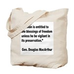 MacArthur Freedom Blessings Quote Tote Bag