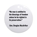 MacArthur Freedom Blessings Quote Ornament (Round)