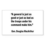 MacArthur General and Troops Quote Sticker (Rectan
