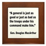 MacArthur General and Troops Quote Framed Tile